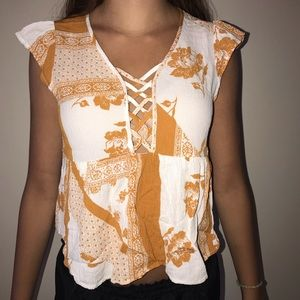 Yellow & white floral top